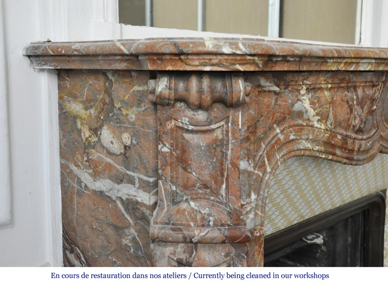 An antique Louis XV style fireplace, made out of Enjugerais marble, Pompadour model-3