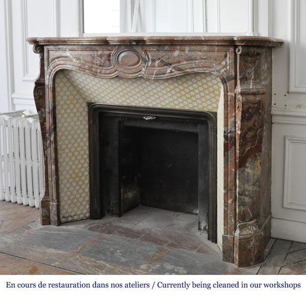 An antique Louis XV style fireplace, made out of Enjugerais marble, Pompadour model-5