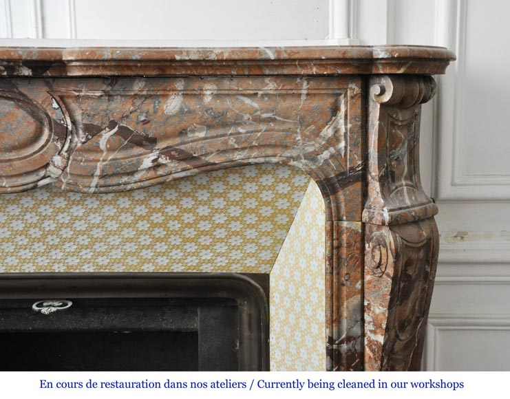An antique Louis XV style fireplace, made out of Enjugerais marble, Pompadour model-6