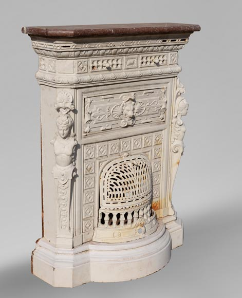 Antique cast iron stove in the Napoleon III style decorated with caryatids-2