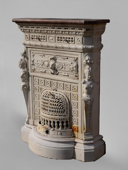 Antique cast iron stove in the Napoleon III style decorated with caryatids-5