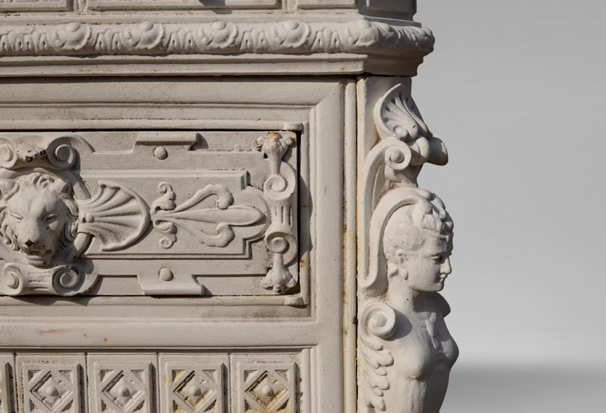 Antique cast iron stove in the Napoleon III style decorated with caryatids-6