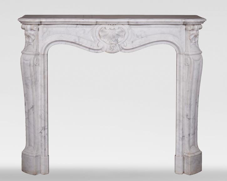 Antique Louis XV style three-shell fireplace in Carrara marble-0