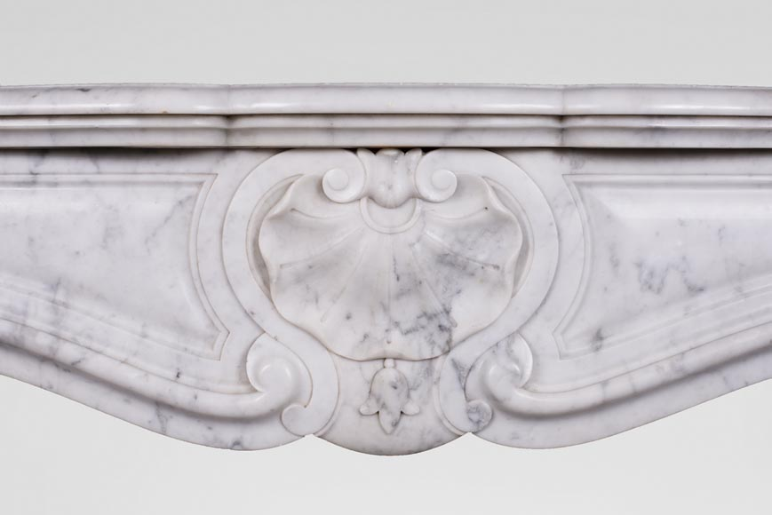 Antique Louis XV style three-shell fireplace in Carrara marble-1