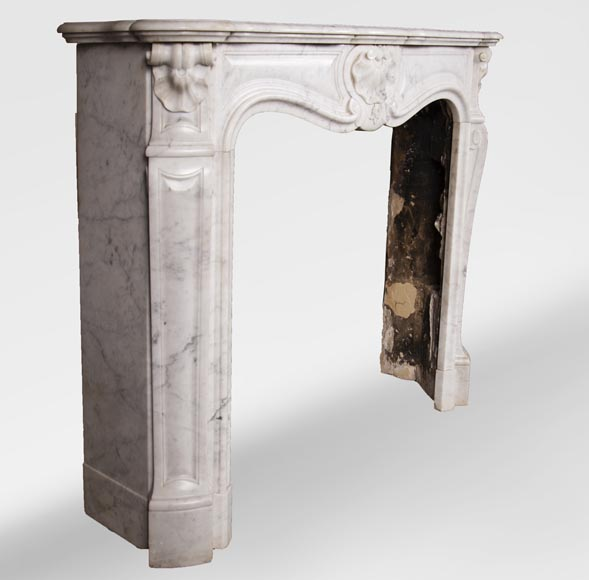 Antique Louis XV style three-shell fireplace in Carrara marble-2