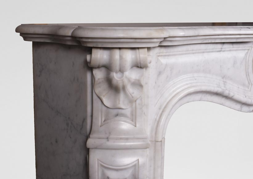 Antique Louis XV style three-shell fireplace in Carrara marble-3