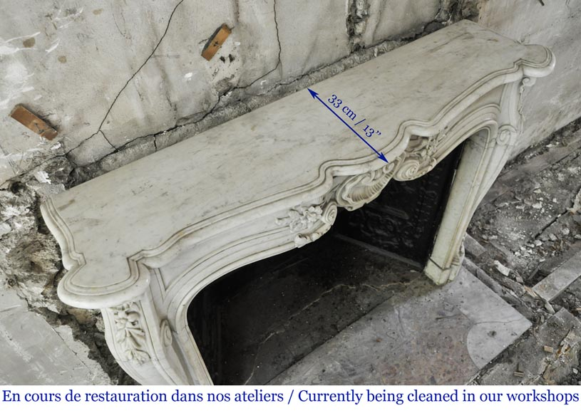 Antique Louis XV style mantel in Carrara marble with a beautiful shell-9