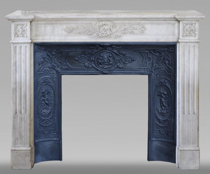 Antique Louis XVI style fireplace in Carrara marble with laurel wreath decoration-0