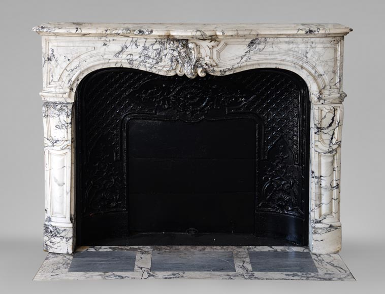 Beautiful antique Regence style fireplace in Serravezza marble-0