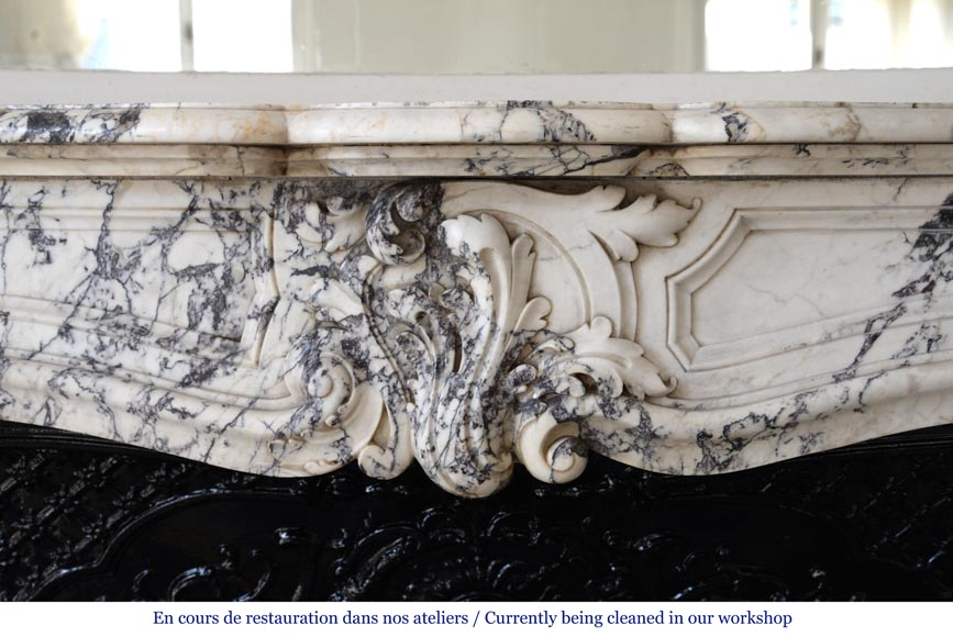 Beautiful antique Regence style fireplace in Serravezza marble-1