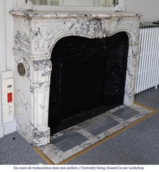 Beautiful antique Regence style fireplace in Serravezza marble-3
