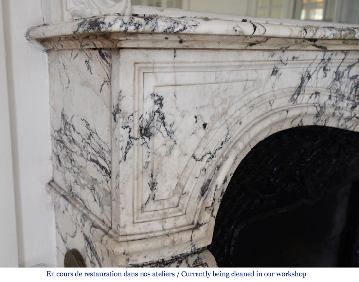 Beautiful antique Regence style fireplace in Serravezza marble-4