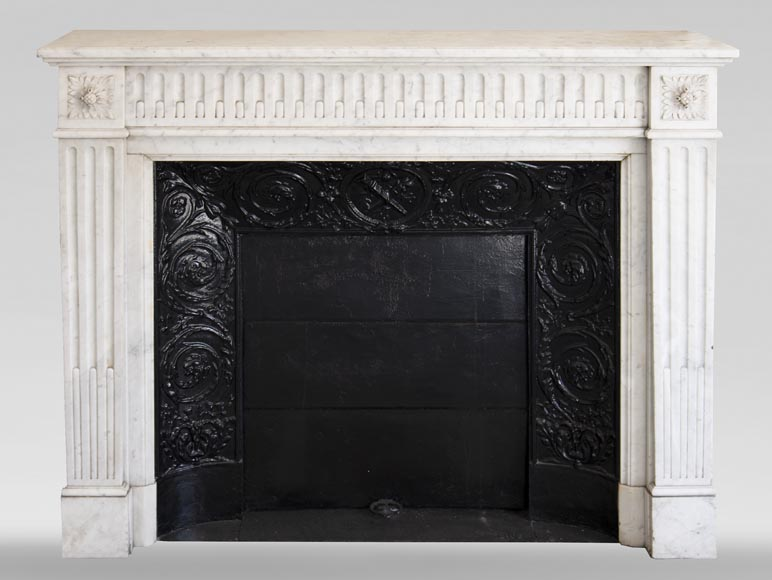 Antique Louis XVI style mantel with flutings in Carrara marble-0