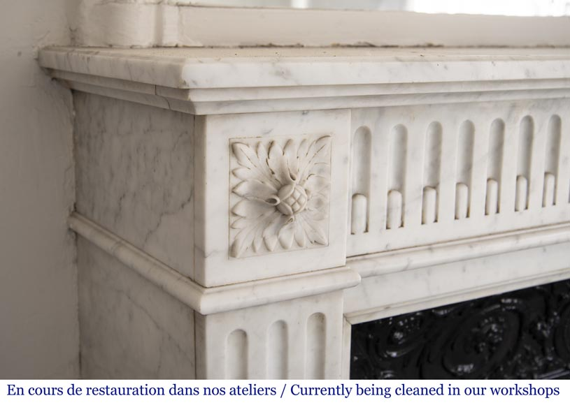 Antique Louis XVI style mantel with flutings in Carrara marble-3