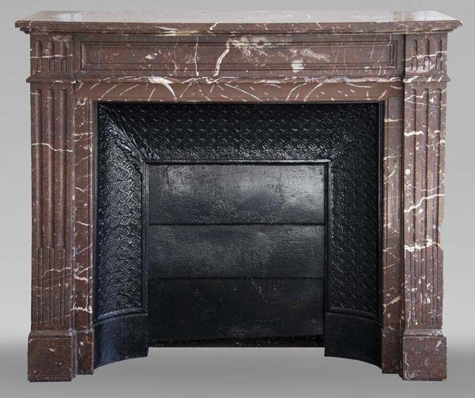 Antique Louis XVI style mantel in Red marble from the North-0