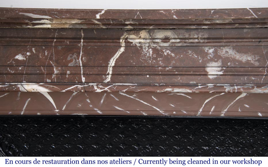 Antique Louis XVI style mantel in Red marble from the North-1