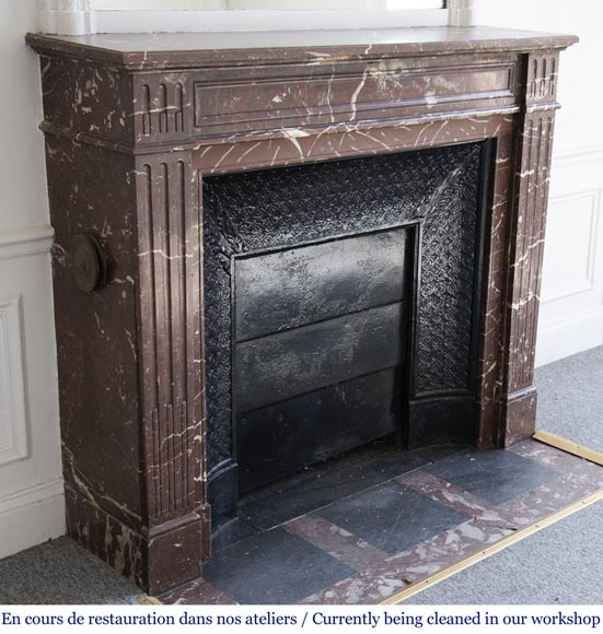 Antique Louis XVI style mantel in Red marble from the North-2