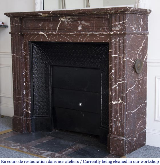 Antique Louis XVI style mantel in Red marble from the North-5