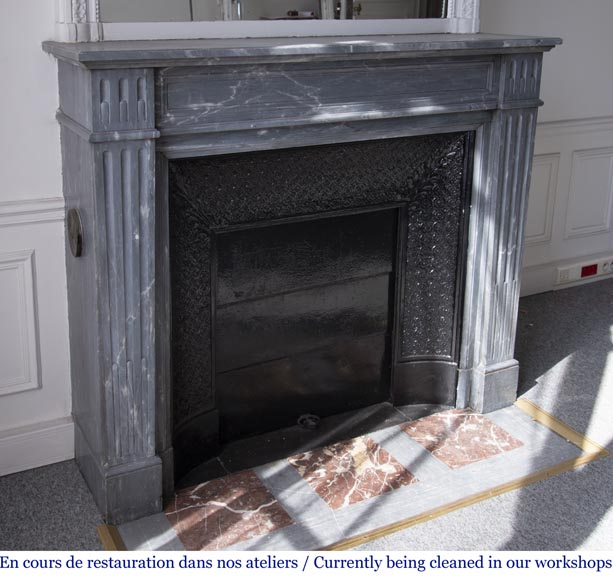 Antique Louis XVI style fireplace in Bleu Turquin marble-2