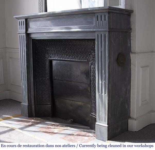 Antique Louis XVI style fireplace in Bleu Turquin marble-5