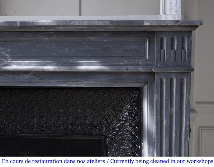 Antique Louis XVI style fireplace in Bleu Turquin marble-6