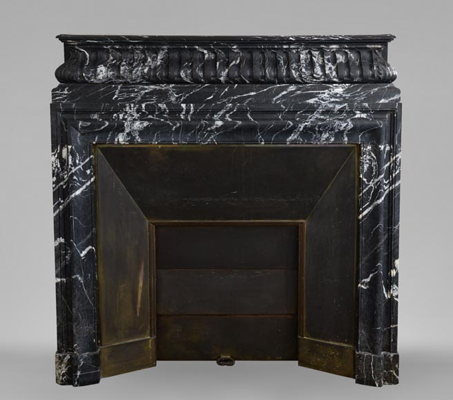 Antique Louis XIV style Black Marquina marble mantel with acroterion-0