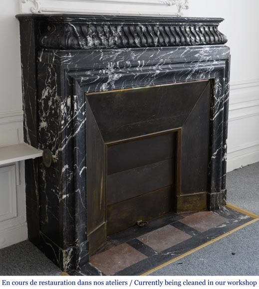 Antique Louis XIV style Black Marquina marble mantel with acroterion-1
