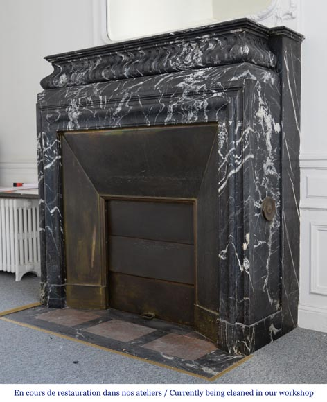 Antique Louis XIV style Black Marquina marble mantel with acroterion-5
