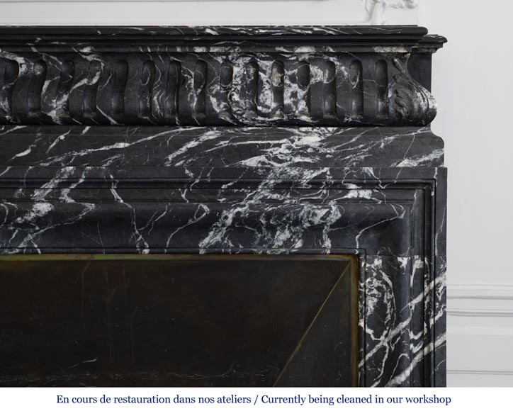 Antique Louis XIV style Black Marquina marble mantel with acroterion-6
