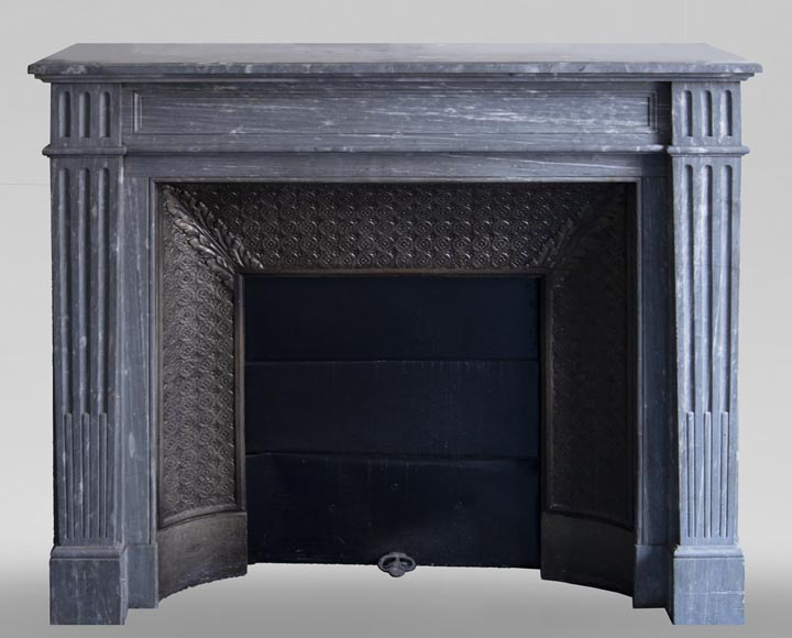 Antique Louis XVI style fireplace, made out of Bleu Turquin marble-0
