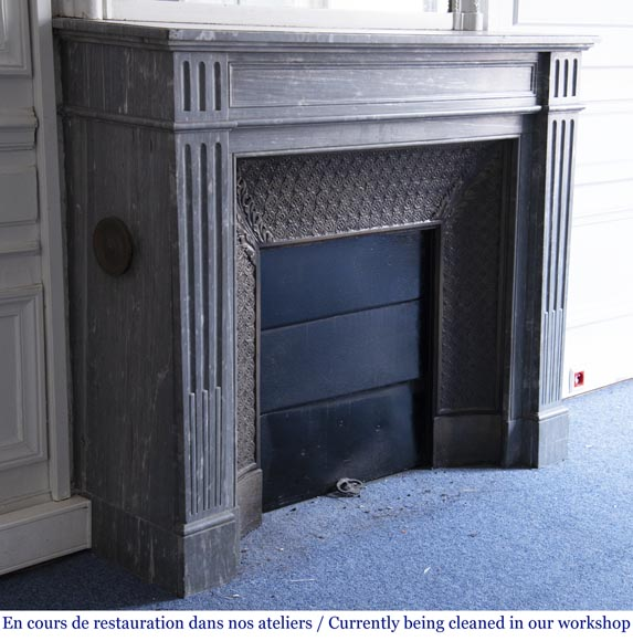 Antique Louis XVI style fireplace, made out of Bleu Turquin marble-2