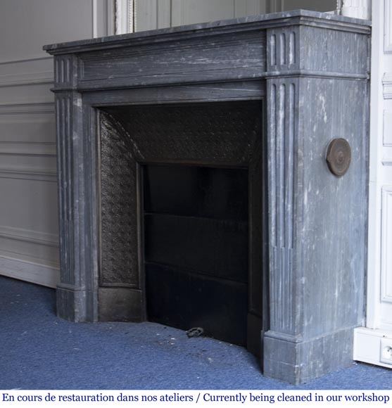 Antique Louis XVI style fireplace, made out of Bleu Turquin marble-5