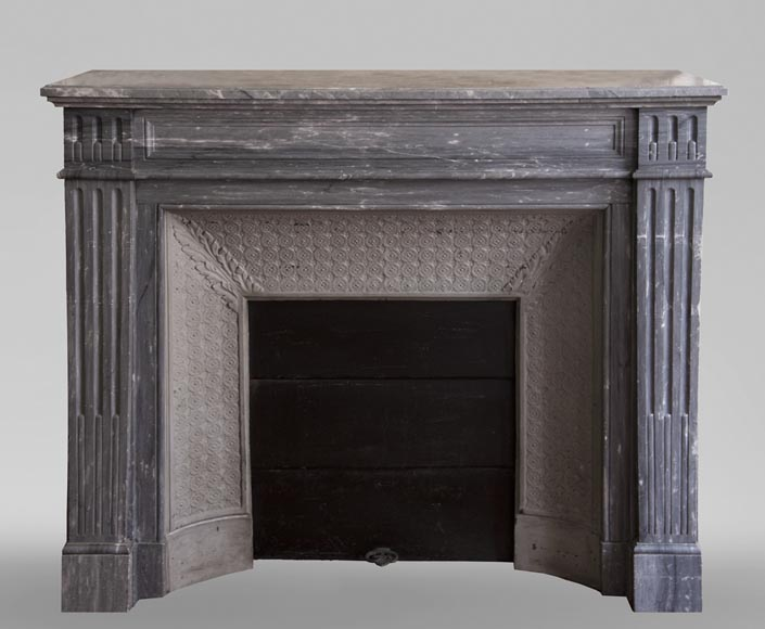 Antique Louis XVI style fireplace in Bleu Turquin marble-0