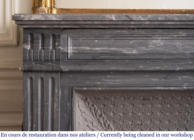 Antique Louis XVI style fireplace in Bleu Turquin marble-3