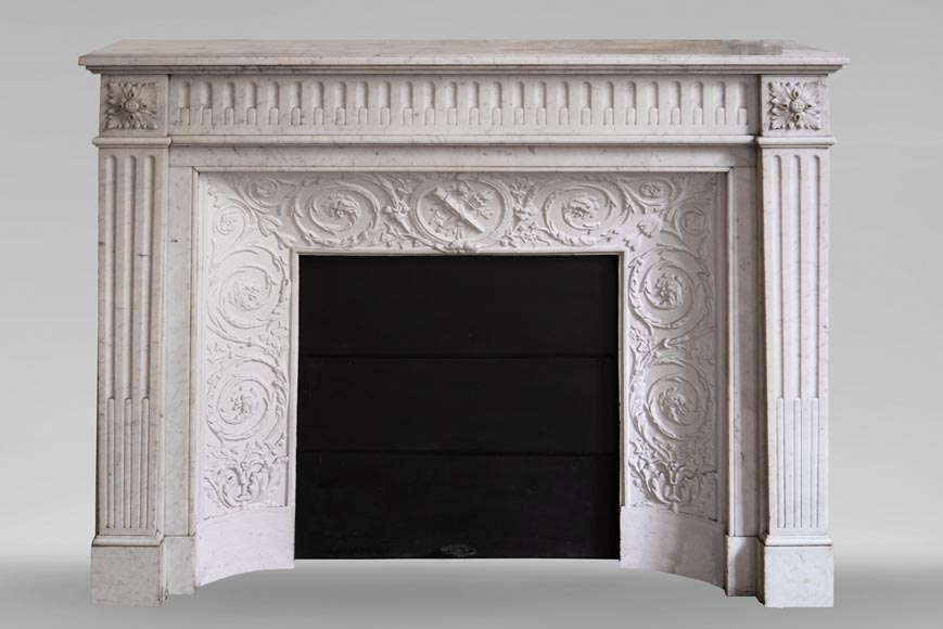 Antique Louis XVI style fireplace in Carrara marble with rudentures-0