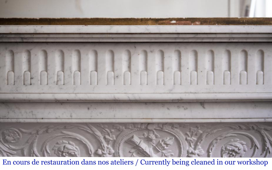 Antique Louis XVI style fireplace in Carrara marble with rudentures-1