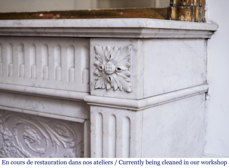Antique Louis XVI style fireplace in Carrara marble with rudentures-6