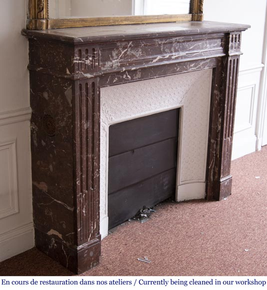 Antique Louis XVI style fireplace in Rouge du Nord marble-2