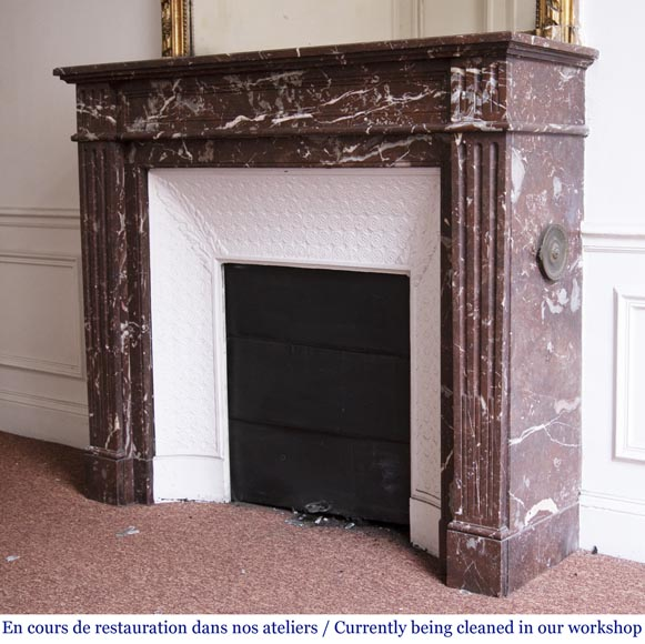 Antique Louis XVI style fireplace in Rouge du Nord marble-5