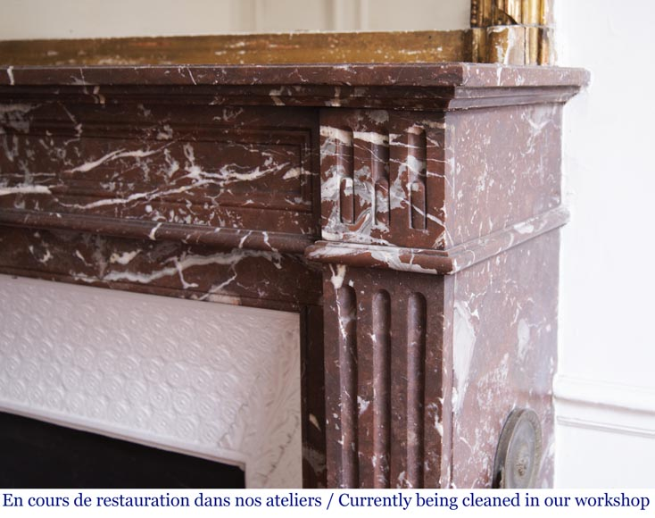 Antique Louis XVI style fireplace in Rouge du Nord marble-6