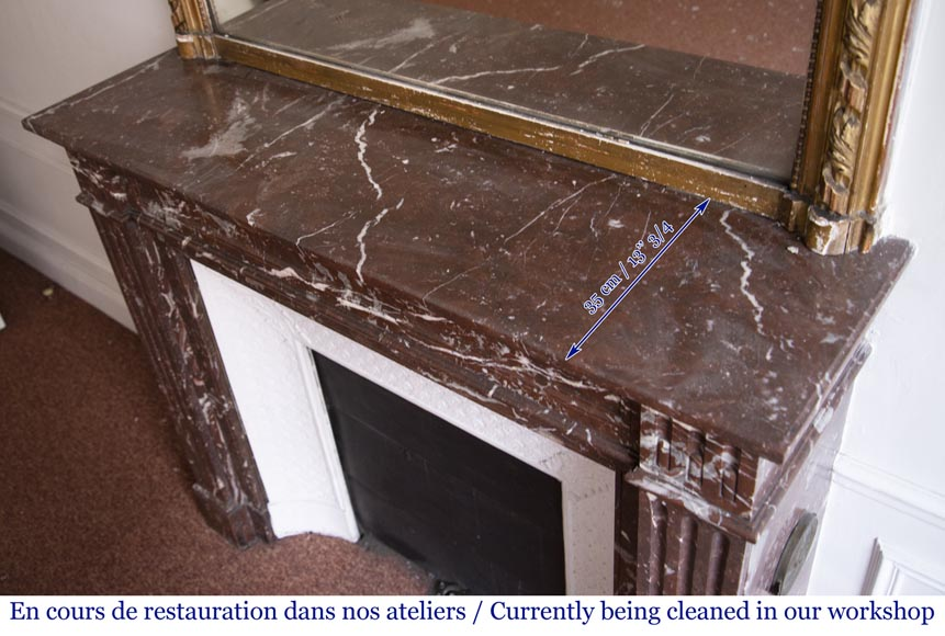 Antique Louis XVI style fireplace in Rouge du Nord marble-8