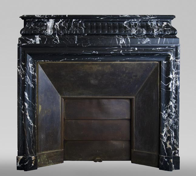 Antique Louis XVI style fireplace with acroterion in NoirMarquina marble-0