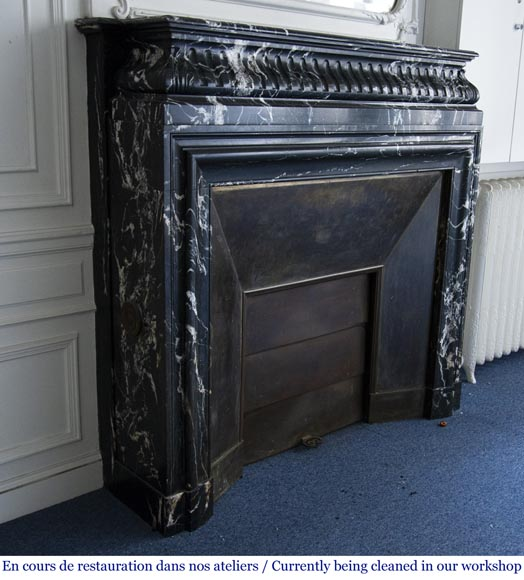 Antique Louis XVI style fireplace with acroterion in NoirMarquina marble-2