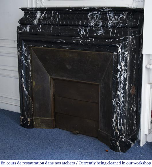 Antique Louis XVI style fireplace with acroterion in NoirMarquina marble-5