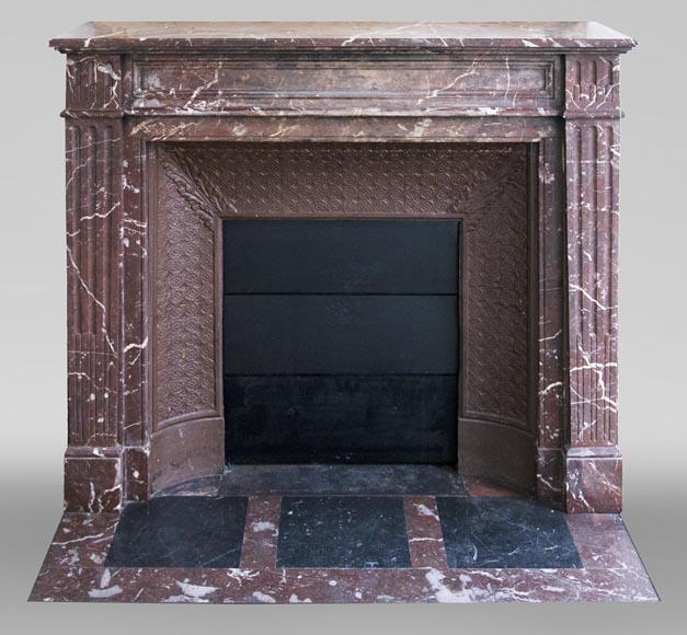 Antique Louis XVI style mantel in Rouge du Nord marble-0