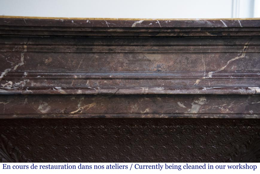 Antique Louis XVI style mantel in Rouge du Nord marble-1