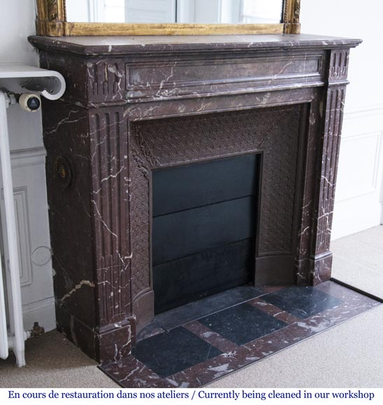 Antique Louis XVI style mantel in Rouge du Nord marble-2