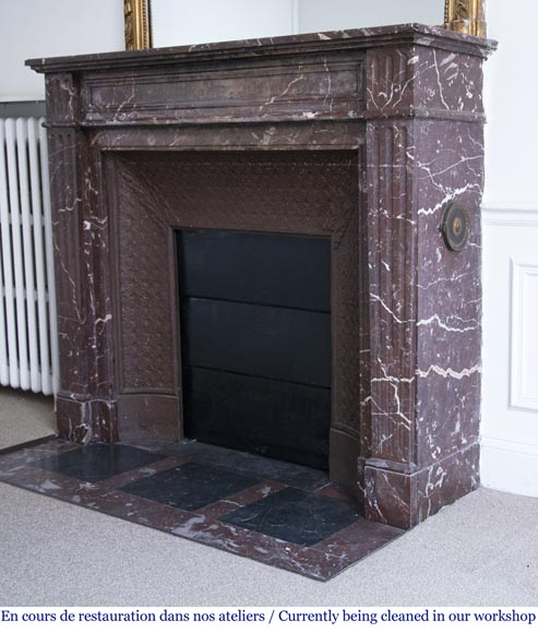 Antique Louis XVI style mantel in Rouge du Nord marble-5