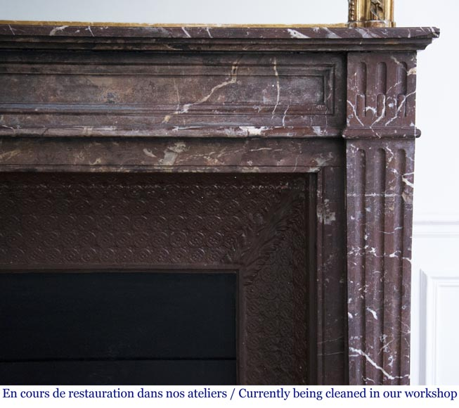 Antique Louis XVI style mantel in Rouge du Nord marble-6