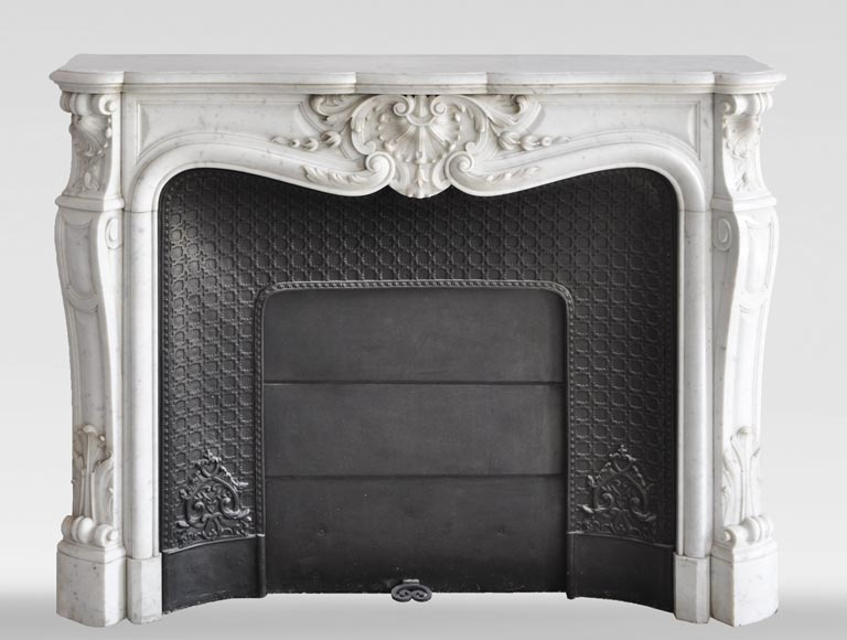 Louis XV style fireplace in Carrara marble with a large shell-0